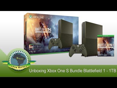 Unboxing Xbox One S Bundle Blattlefield 1 🎮 1TB Edição Especial Limitada (verde militar) [PT-BR]