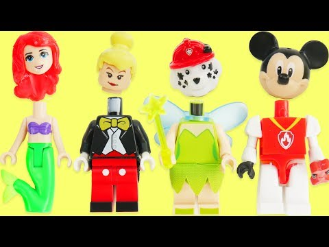 Thumbnail: Learn Colors with Disney Princess, Paw Patrol Legos, & Tinker Bell Skye Wrong Heads Sparkle Spice