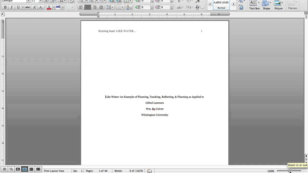 apa first page format
