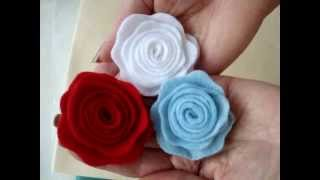 Repeat youtube video LITTLE FELT ROSE, fabric flower # 6, Fashions by Carlitto.