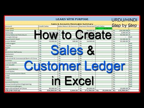 How to Create Sales and Customer Ledger  in Excel URDU/HINDI