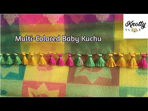 how-to-do-baby-kuchu-|-multicoloured-saree-kuchu-|-1-step-design-|-kannada-tutorial