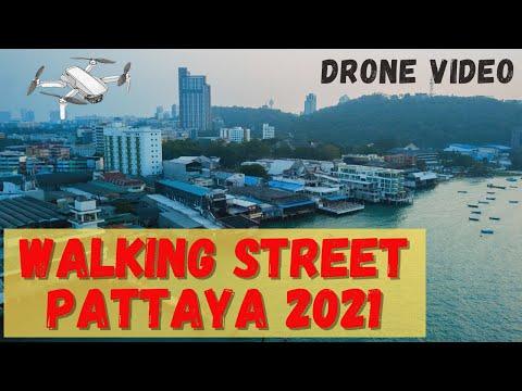 Walking Street, Pattaya 2021 Drone Video - Волкин стрит, Паттайя 2021. Видео с дрона
