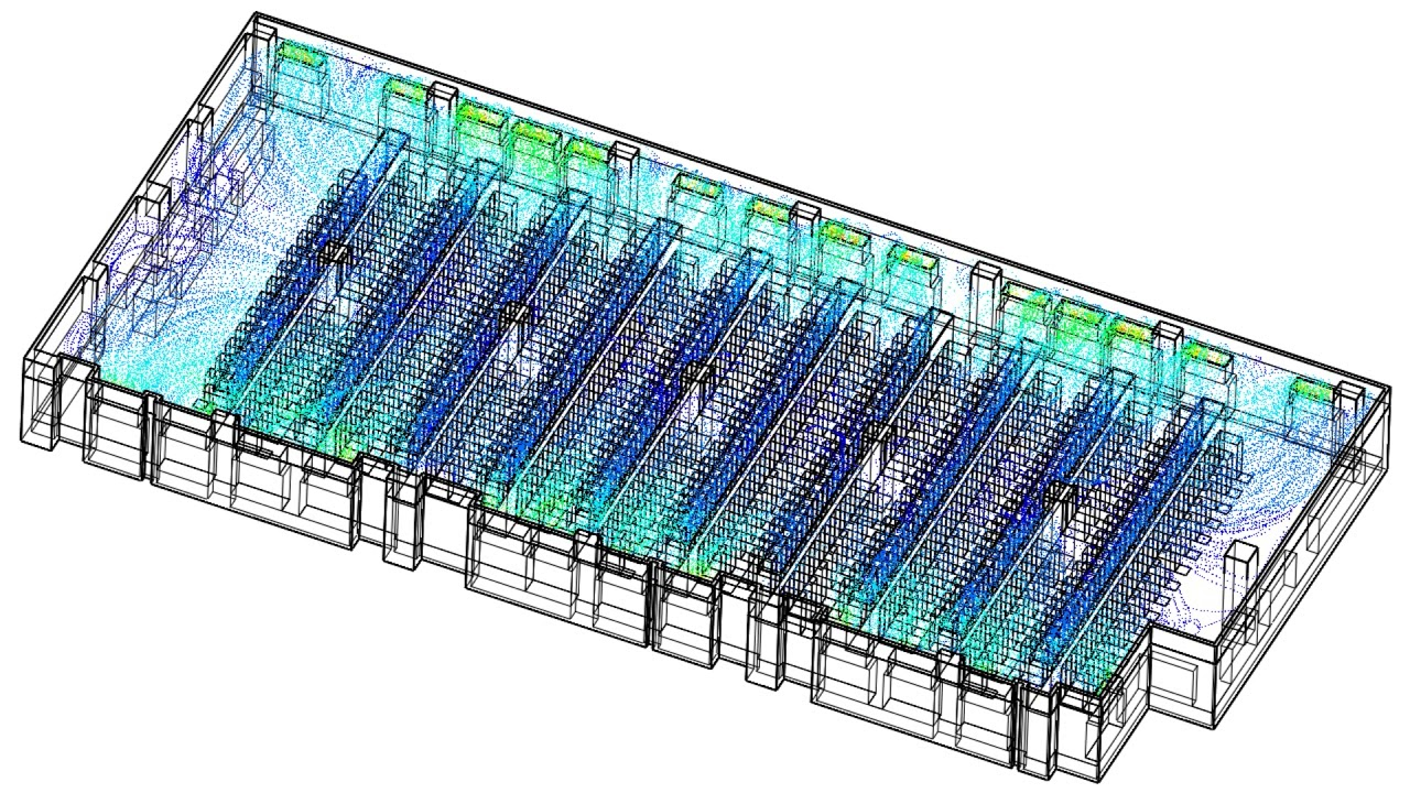 CFD simulation of a large data hall