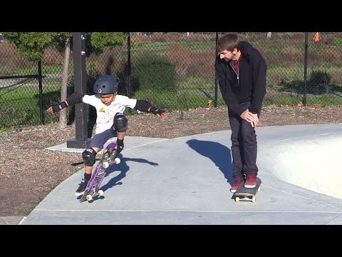 TEACHING A 6 YEAR OLD HOW TO 180 ON A SKATEBOARD