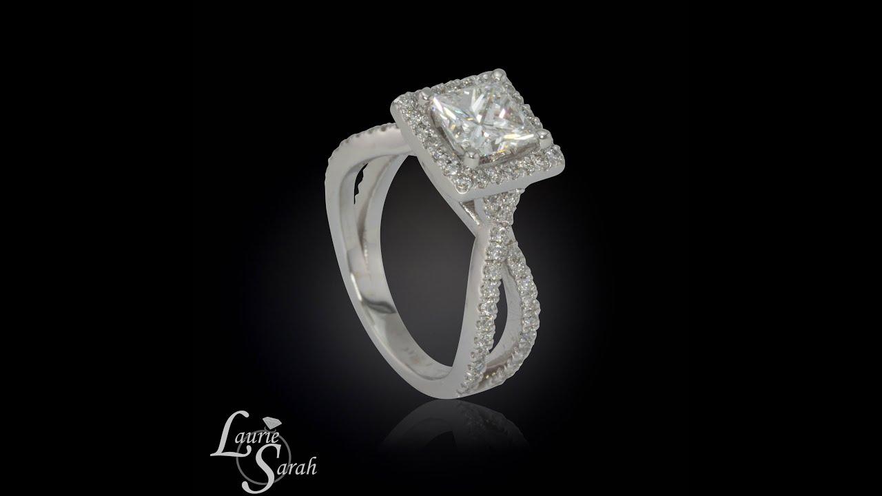 Art Deco Princess Cut Diamond Engagement Ring with split shank and