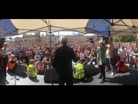 Jeremy Corbyn speaking outside the Rose Bowl in Hull