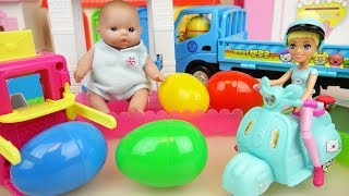 Baby doll and car park toys surprise eggs baby Doli play
