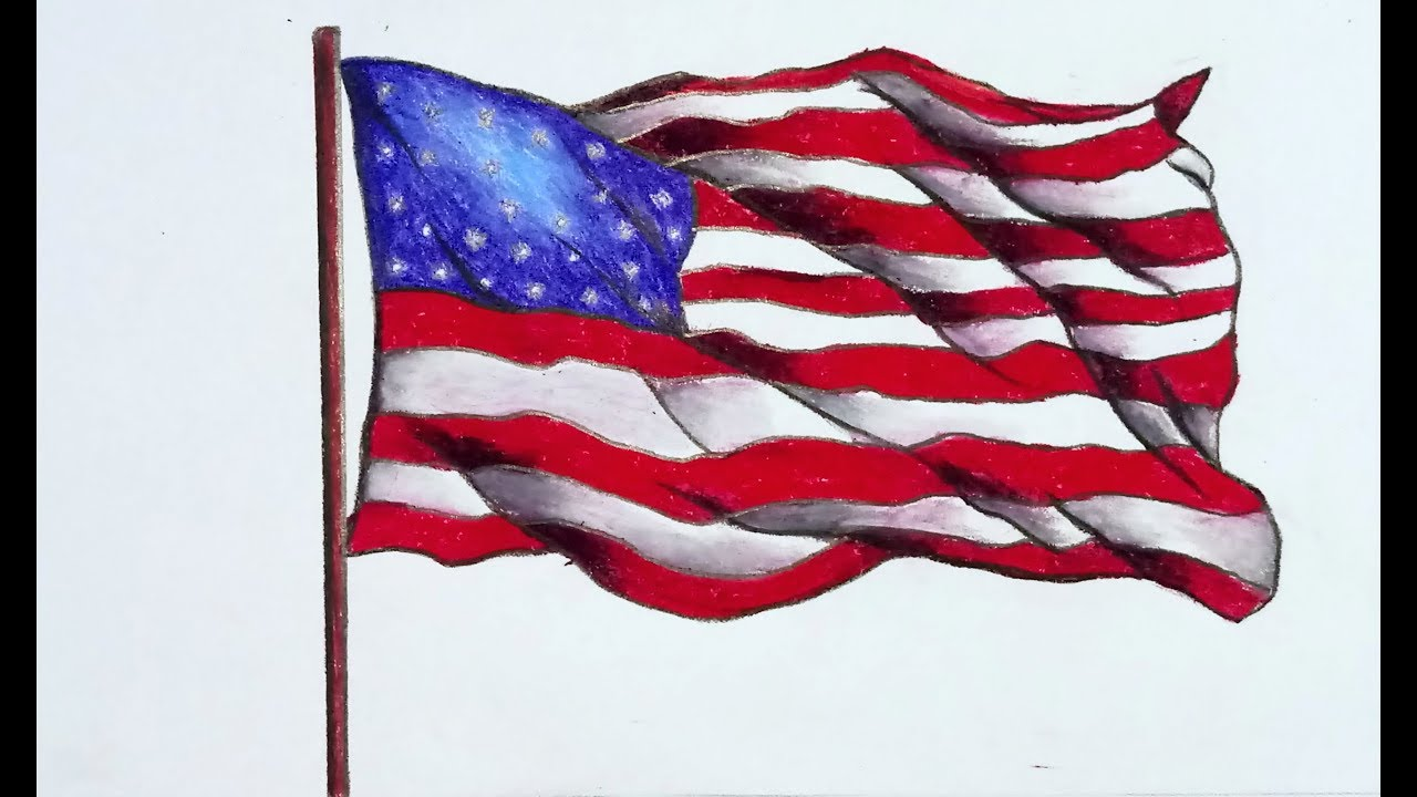 How To Draw National Flag Of America Step By Step With Oil Pastel Color Easy Drawing Youtube