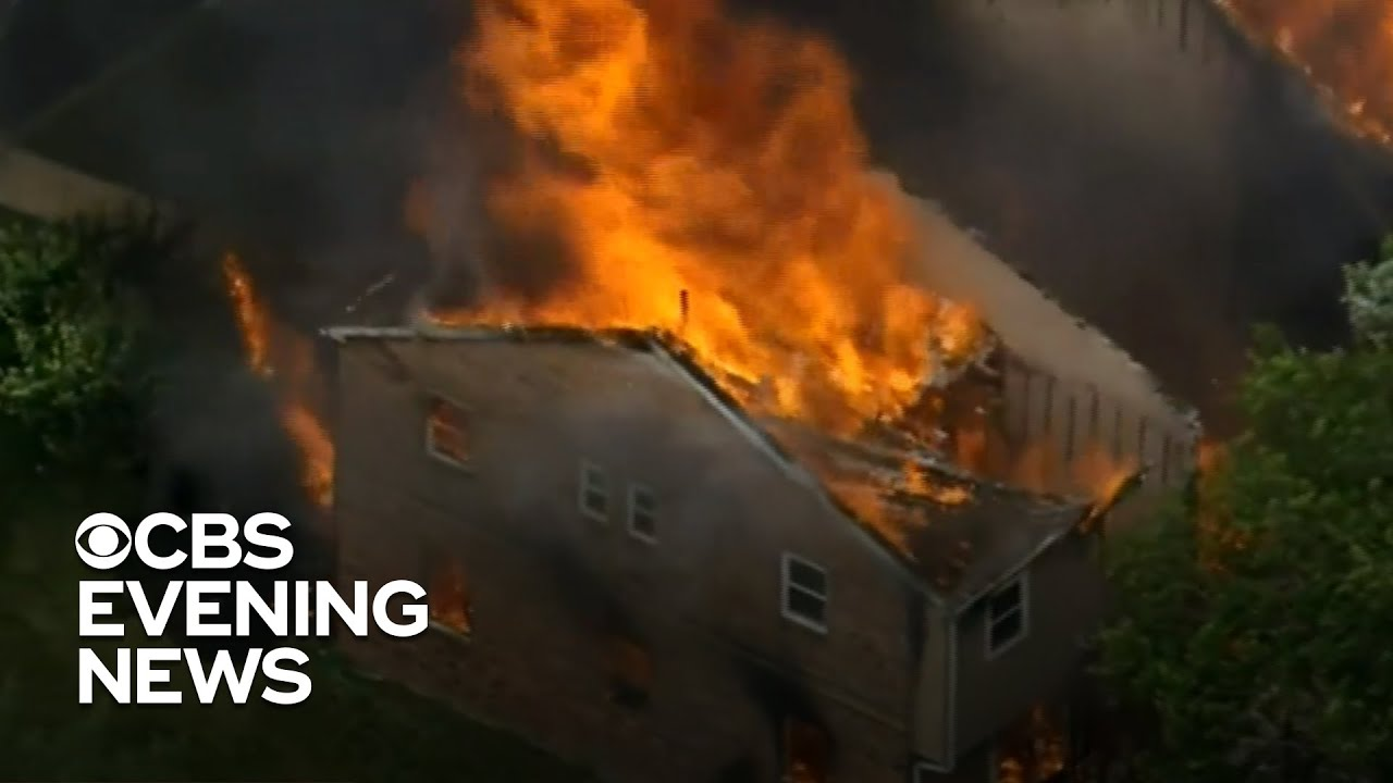 Suspect missing after Pennsylvania homes destroyed in fire - CBS Evening News