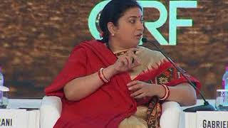 Union Minister Smriti Irani speaks in sessions on policy, politics and gender at Raisina Dialogue