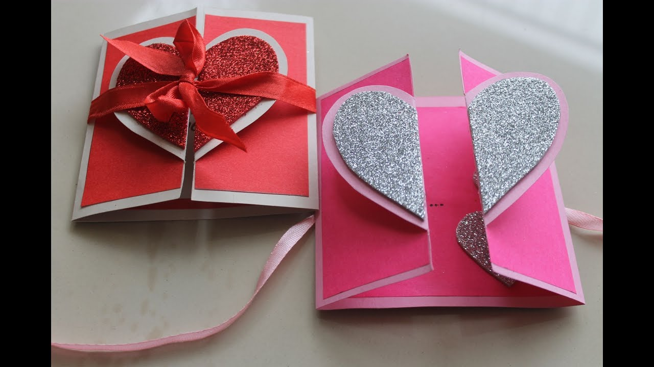 Diy heart greeting card handmade card tutorial youtube handmade valentine heart m4hsunfo