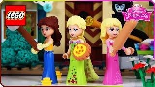 ♥ LEGO Disney Princess Elsa BAKING PIE DISASTER (Aurora, Belle, Maleficent, Ciderella)