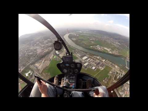 Flight over Basel in a Robinson R22