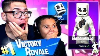 *NEW* MARSHMELLO SKIN IS INSANE! MY LITTLE BROTHERS NEW FAVORITE SKIN! NINJA FRIEND! FORTNITE FUNNY
