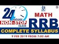24hrs Non-Stop Class PART-3 | RRB Math | Complete Syllabus | 9th Feb 2019 | 7:00 AM