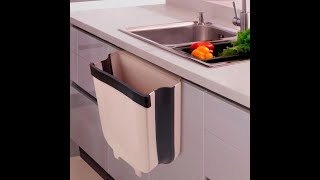 OSTOOP Kitchen Hanging Trash Can, Folding Garbage Can Over Cabinet Door