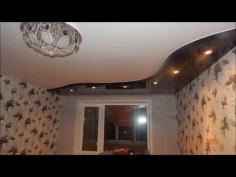 Двухуровневый потолок с переходом на стену (что получилось)