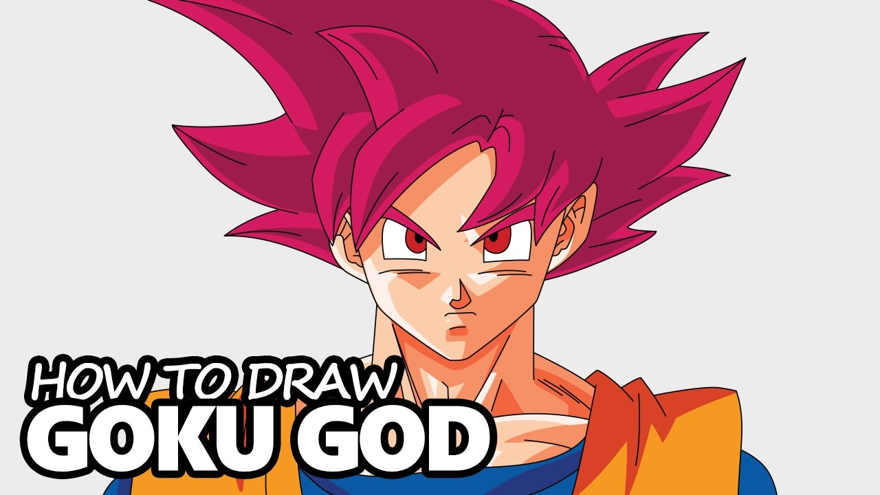 How To Draw Goku Super Saiyan God Dragon Ball Z Easy Step By Step Drawing Tutorial