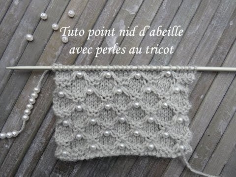 91148e1063b6 TUTO NID ABEILLE AVEC PERLES AU TRICOT Knitting with beads TEJER PUNTO CON  PERLA DOS AGUJAS