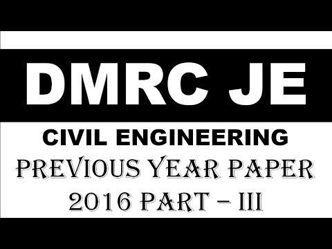 DMRC 2016 FULL PAPER CIVIL ENGINEERING Part -3    हिंदी में