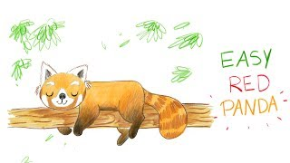 HOW TO DRAW A CUTE RED PANDA (EASY WAY) / COMMENT DESSINER FACILEMENT UN PANDA ROUX