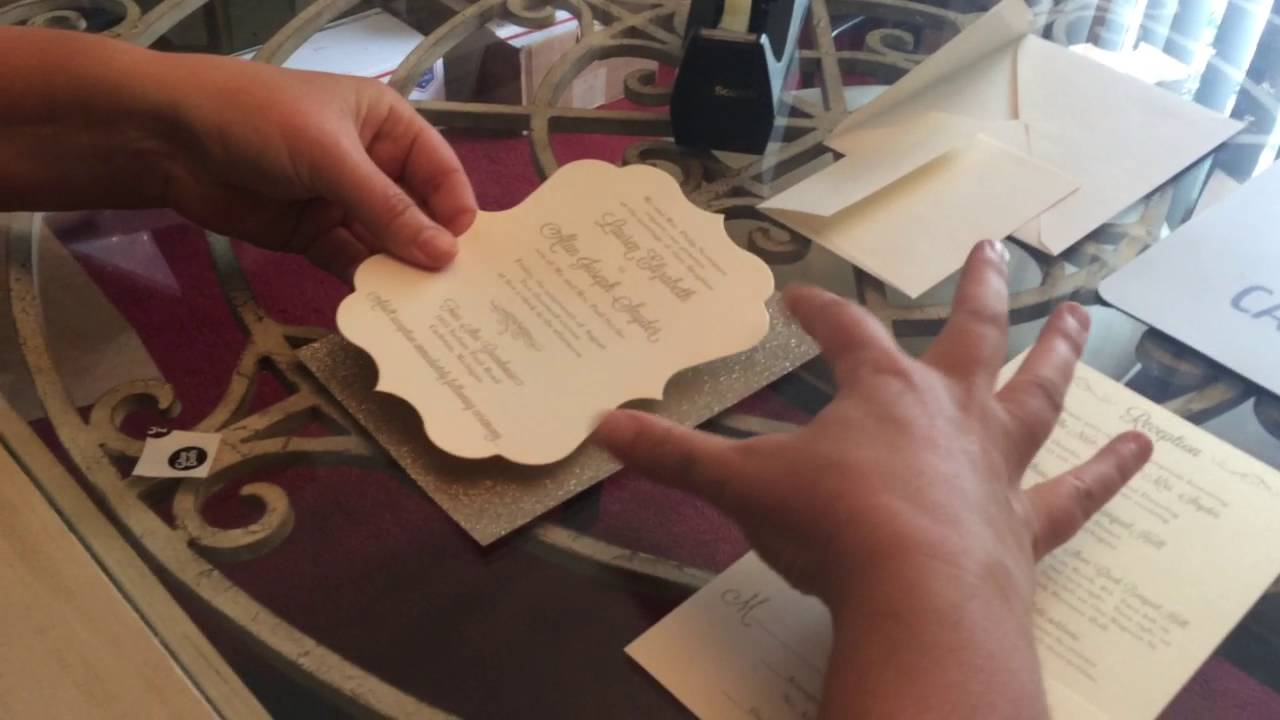 Assembling Wedding Invitations With Glitter Backings