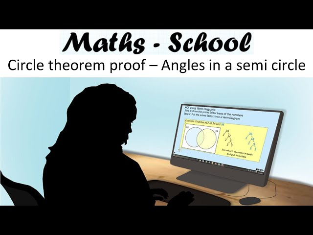 Angle at the circumference circle theorem proof Maths GCSE revision lesson (Maths - School)