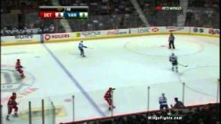 Pavel Datsyuk gets nailed by Andrew Alberts 11/06/10