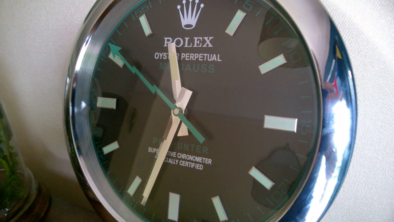 Rolex milgauss dealer wall clock with sweeping hand youtube rolex milgauss dealer wall clock with sweeping hand amipublicfo Images
