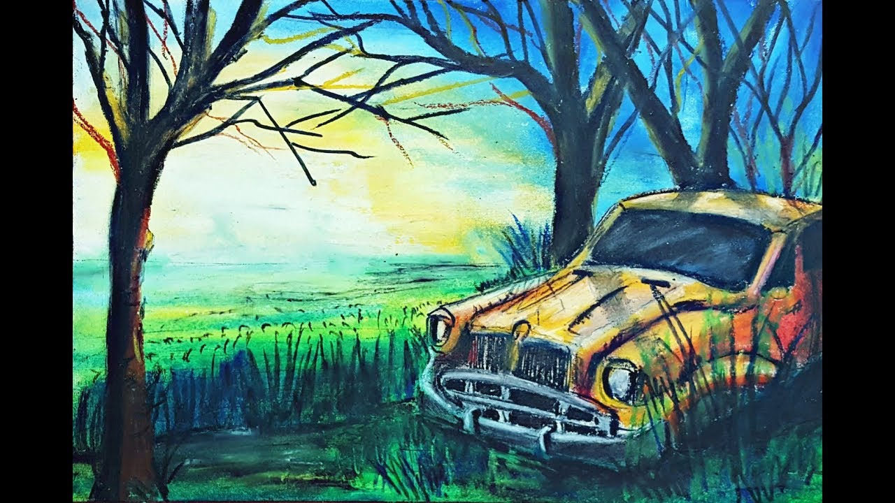 Drawing A Landscape Of Broken Old Classic Car In The
