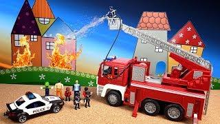 БОЛЬШАЯ ПОЖАРНАЯ МАШИНА DRIVEN Пожар в доме Распаковка игрушки #промашинки  toys cars fire truck