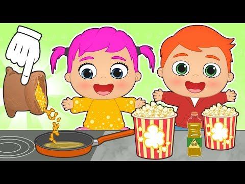 BEBES ALEX Y LILY 🍿 Como hacer palomitas para ver una película | Dibujos animados educativos