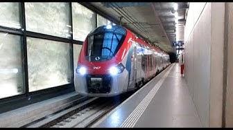 Départ du S L1 Léman Express à Genève Eaux Vives