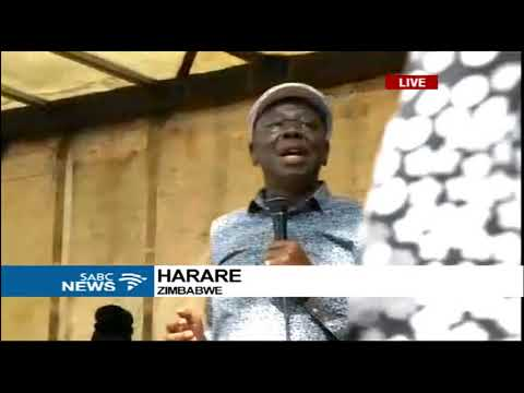 Morgan Tsvangirai addresses masses outside Zim Parliament