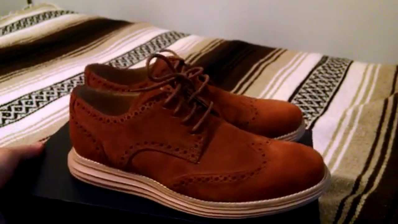 Cole Haan Lunargrand Wingtip Oxfords Woodbury Gum Suede Brogue Derbies  Review - YouTube