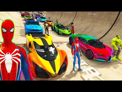 SPIDERMAN CARS Race Challenge with Quad Bikes ! SUPERHERO HULK Iron Man Goku Racing Stunts - GTA 5  