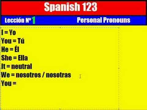 18c8cdef29a59 Spanish Lesson   1. Personal Pronouns - YouTube