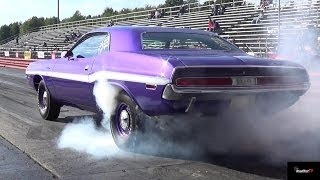 426 Hemi GTX vs 440 / 6 Pack Challenger - 1/4 Mile Drag Race & Burn Out  Video - Road Test TV