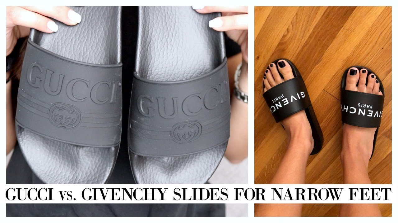1f3f1ec2ba37 GUCCI Logo Rubber Slide Sandal Unboxing + REVIEW FOR NARROW FEET ...