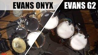 Evans ONYX vs G2 coated tom drumheads + UV EMAD Aquarian Rings Shure Beta 52A SM57 AKG 214 Audix F10