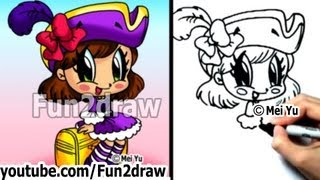 How to Draw Cartoon Characters - Chibi Pirate Girl Step by Step - Draw People - Fun2draw