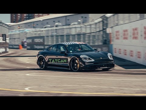 Porsche Taycan Demonstrates Its Speed At NYC Formula E Course