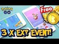 3 X EXP EVENT W POKEMON GO! POKECOINSY ZA DARMO! POKEMON GO