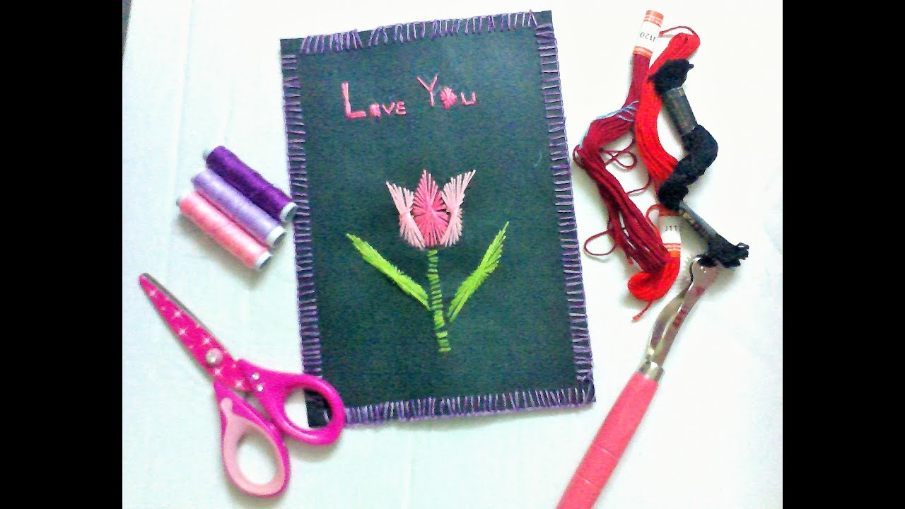 tulip flower embroidery in greeting cards youtube tulip flower embroidery in greeting cards kristyandbryce Image collections