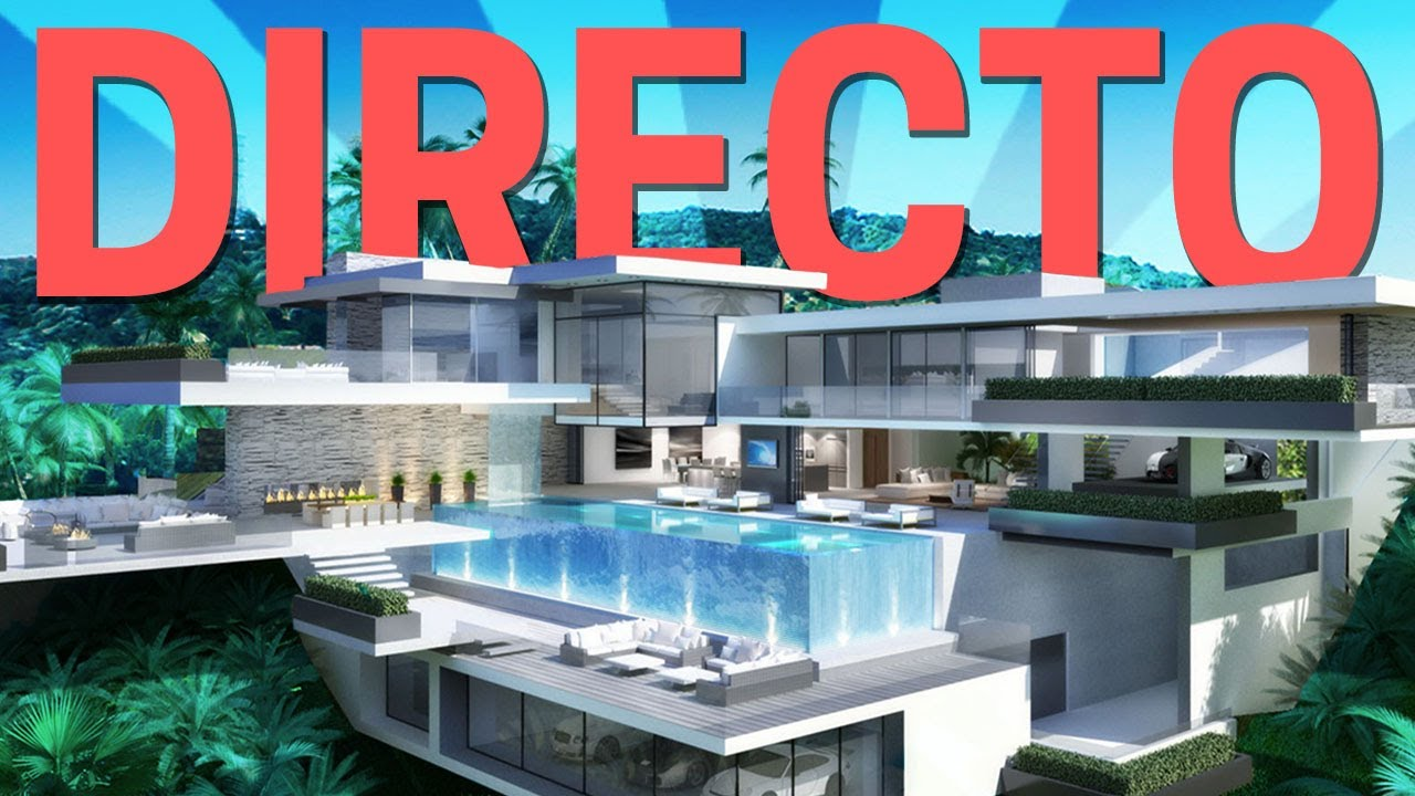 Minecraft construyendo una mansi n moderna en directo for Casa moderna 1 8