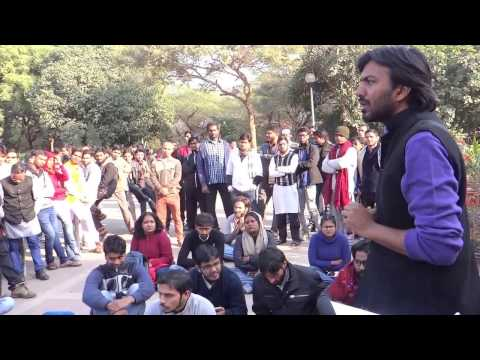 JNUSU President Mohit speaks at JNUSU's Protest Demo at Freedom Square today, 13 Jan 2017