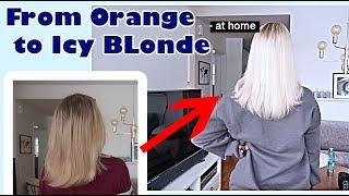 BLEACHING MY HAIR AT HOME | From orange to icy blonde