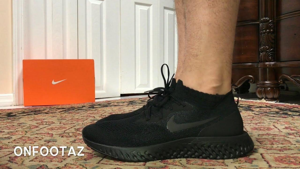 ec7b16d8ff82 Nike Epic React Flyknit Triple Black On Foot - YouTube