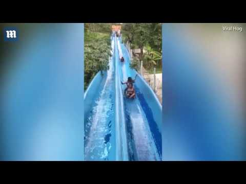 """Woman torpedoes down water slide at Mexican water park"""""""